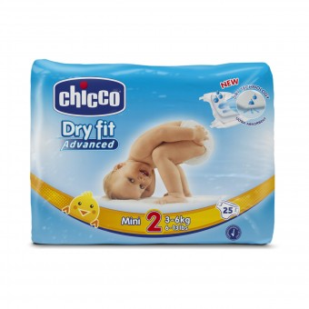 CHICCO DRY FIT ADVANCED 2 MINI 3-6 KG 25 PZ  PANNOLINI