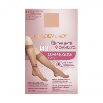 GOLDEN LADY GAMBALETTO BENESSERE & BELLEZZA A COMPRESSIONE FORTE GRADUATA DIFFERENZIATA 140 DENARI PLAYA TAGLIA M/L