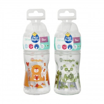 NEO BABY BIBERON VETRO COLLO LARGO SILICONE 150 ML. 84216